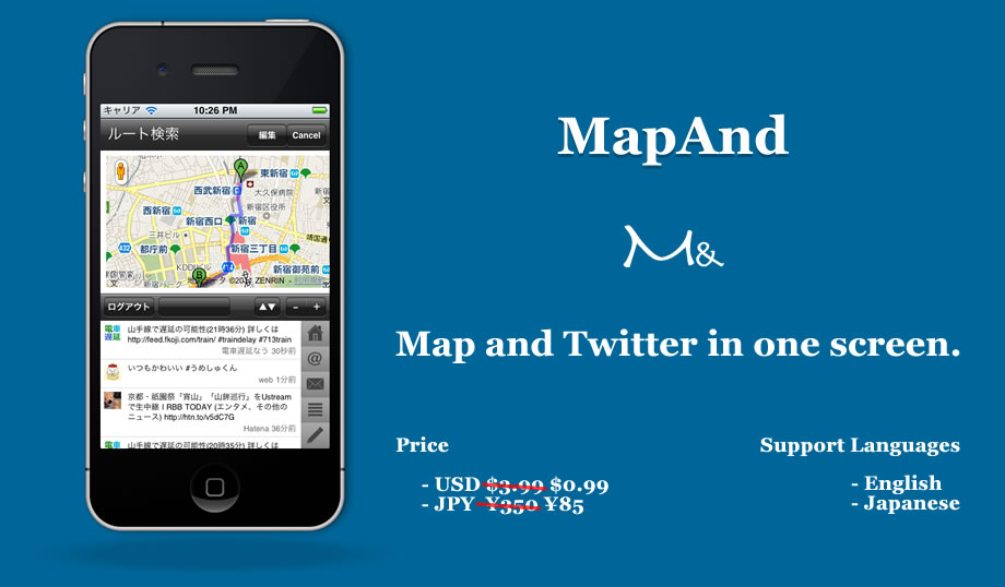 MapAnd - Map and Twitter in one screen.